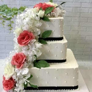 Square Three Tier Floral Cake