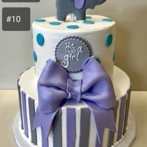 Two Tier Polka Dot Striped Cake with Big Bow