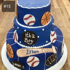 Three Tier Cake with Baseball Fondant Pieces