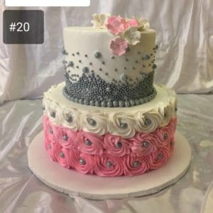 Two Tier Pearl Rosette Cake