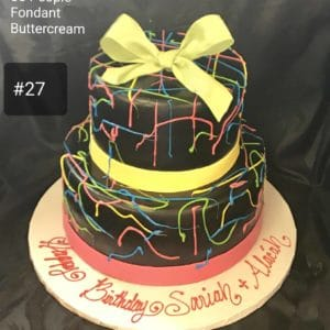 2 Tier Neon Lights Cake