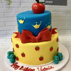 Two Tier Snow White Cake