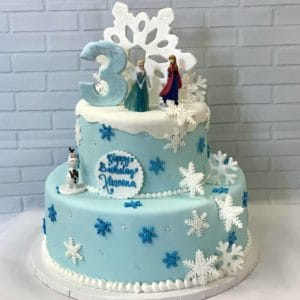 2 Tier Frozen Snowflake Cake