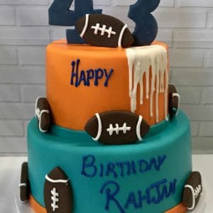 Two Tier Football Drip Cake
